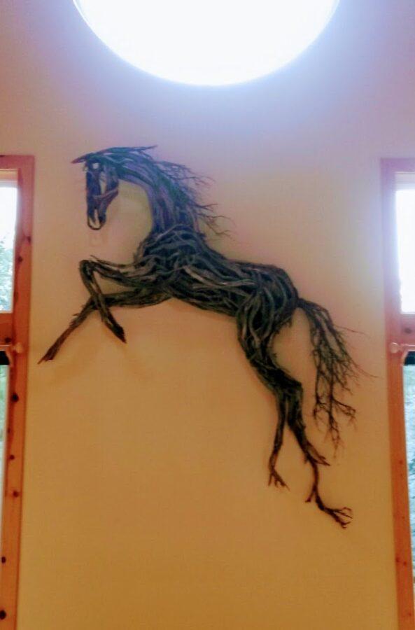 Photo of mixed media horse sculpture wall hanging by Brenna Kimbro