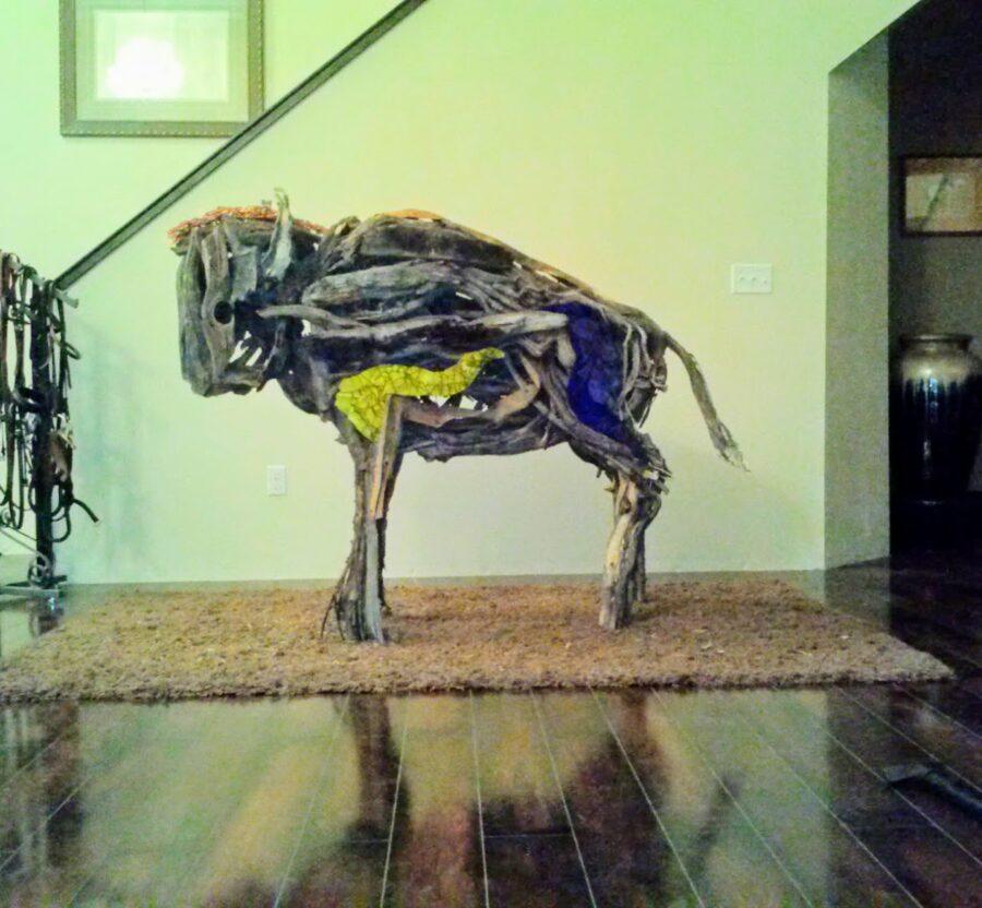 Photo of mixed media buffalo sculpture by Brenna Kimbro
