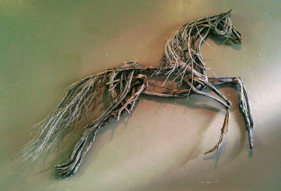 Photo of mixed media horse sculpture wall haning by Brenna Kimbro