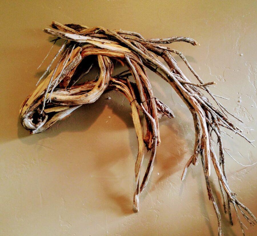 Photo of mixed media horse head wall hanging by Brenna Kimbro