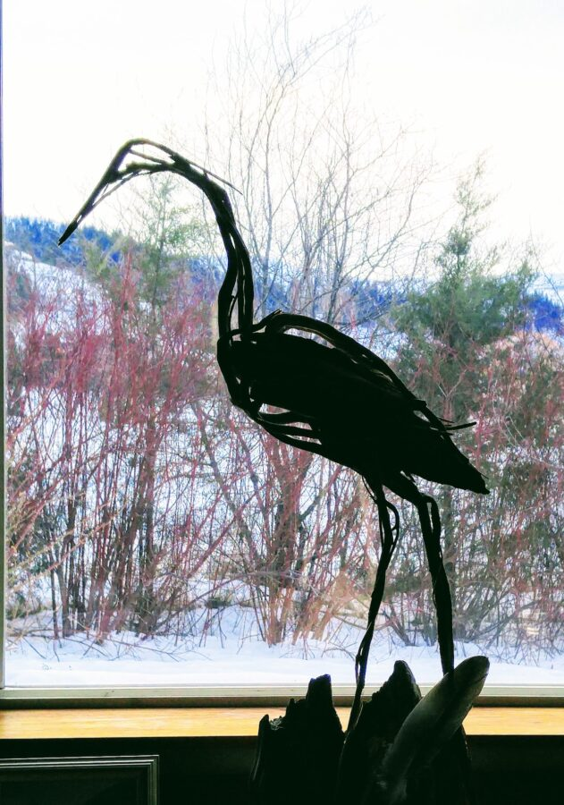 Photo of mixed media crane sculpture by Brenna Kimbro