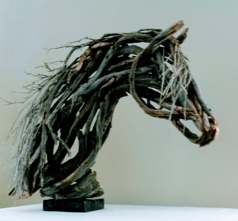 Photo of mixed media horse head sculpture by Brenna Kimbro