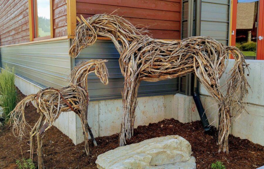 Photo of mixed media two wooden horses by Brenna Kimbro