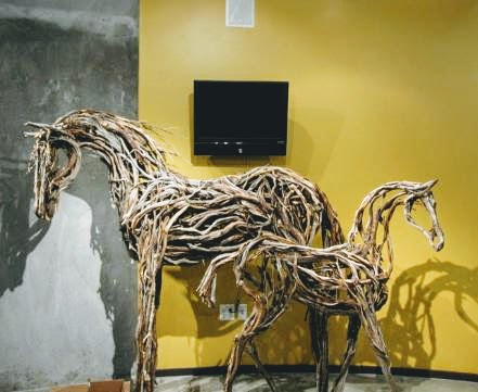 Photo of mixed media two horse sculptures by Brenna Kimbro