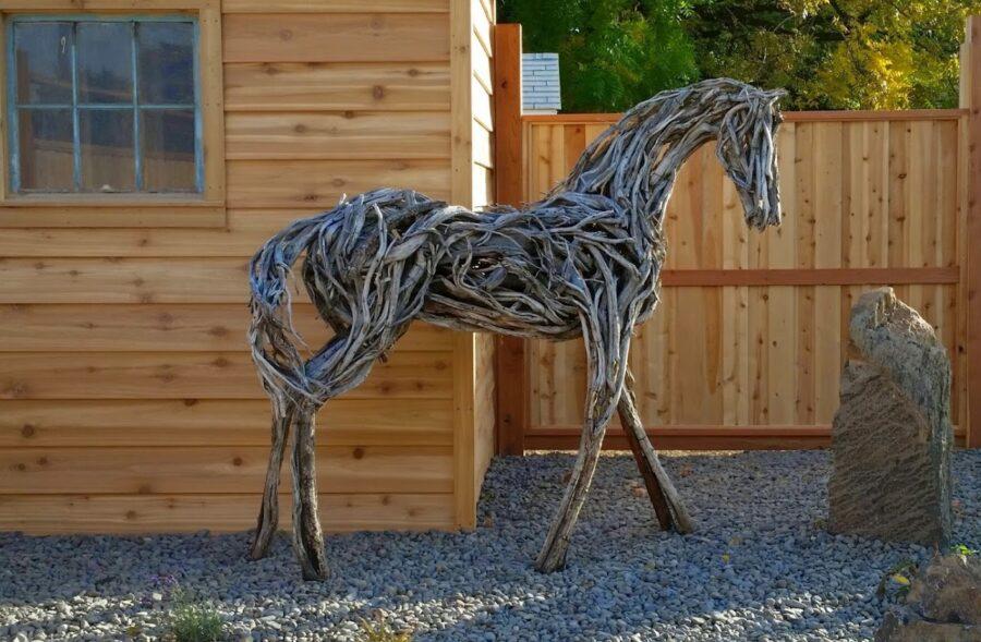 Photo of mixed media wooden horse scultpre by Brenna Kimbro