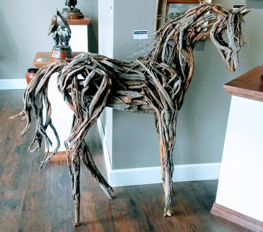 Photo of mixed media wooden horse by Brenna Kimbro