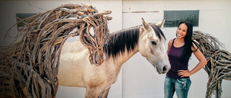 Photo of mixed media wooden horse sculpture by Brenna Kimbro
