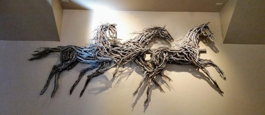 Photo of mixed media horse sculpture, made with wood, made by Brenna Kimbro